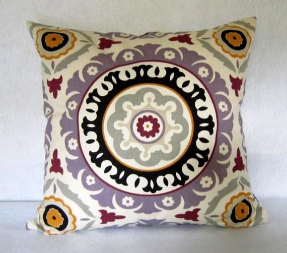 "Suzani Decorative Pillow cover in Lavender ""Solar Flair"""
