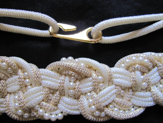 Vintage 80s Cream, Gold, and Pearl Mixed Media Twisted Rope Cinch Belt  M/L