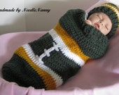 Order a Green Bay Packers Baby Cocoon Baylor Cocoon Swaddle Sack Photo Prop Costume Handmade Baby Shower Gifts Newborn Clothing Blanket Set