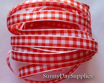 Red Gingham Ribbon, 5 YARDS, 3/8 inch wide,  Red and White Gingham Ribbon, Narrow Ribbon