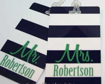Monogrammed Mr. and Mrs. Luggage Tags - Set of TWO Personalized Bag Tags - Honeymoon Luggage Tag - Honeymoon gift - Monogram Bag Tags