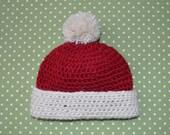 Newborn Red and White Alpaca Christmas Hat with Pom Pom