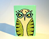 Owl with Glasses colorful wood art blocks