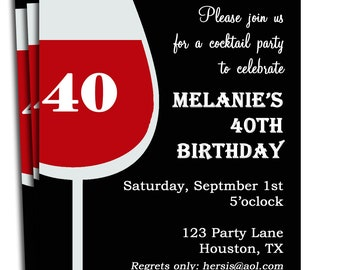 Adult Birthday Invitation Printable - Personalized for your Party and/or Age Celebrating - Red Wine Invite