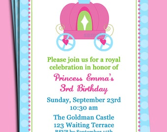 Princess Invitation Printable or Printed with FREE SHIPPING - Carriage Collection