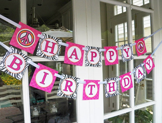 Hot Pink Zebra Peace Sign Happy Birthday Banner Printable - InssChic Peace Party Collection