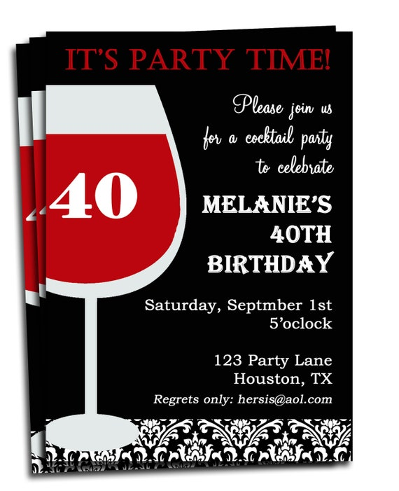 Adult Birthday Invitation Printable Personalized For Your - Unique birthday invitations for adults