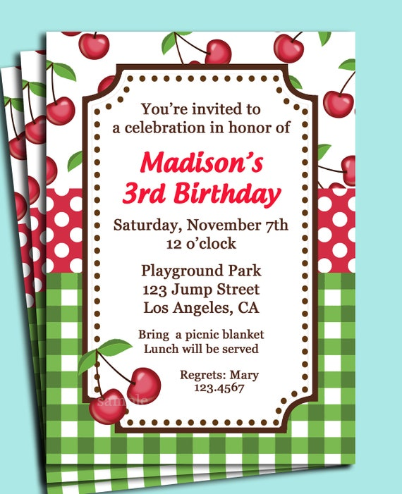 Cherry Picnic Invitation Printable Or Printed With Free