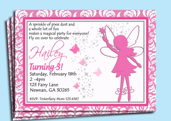 fairy invitation printable or printed with free shipping, Invitation templates