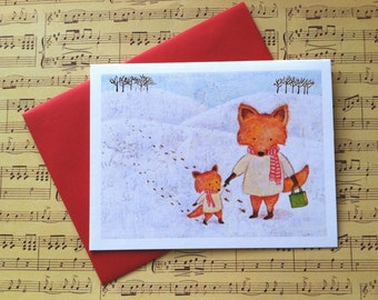 Snow Foxes Christmas Card by Megumi Lemons