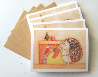 Hedgehog with Stocking Christmas Card - set of 4 cards by Megumi Lemons