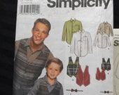 boys and mens shirt and bow tie uncut pattern Simplicity 7030