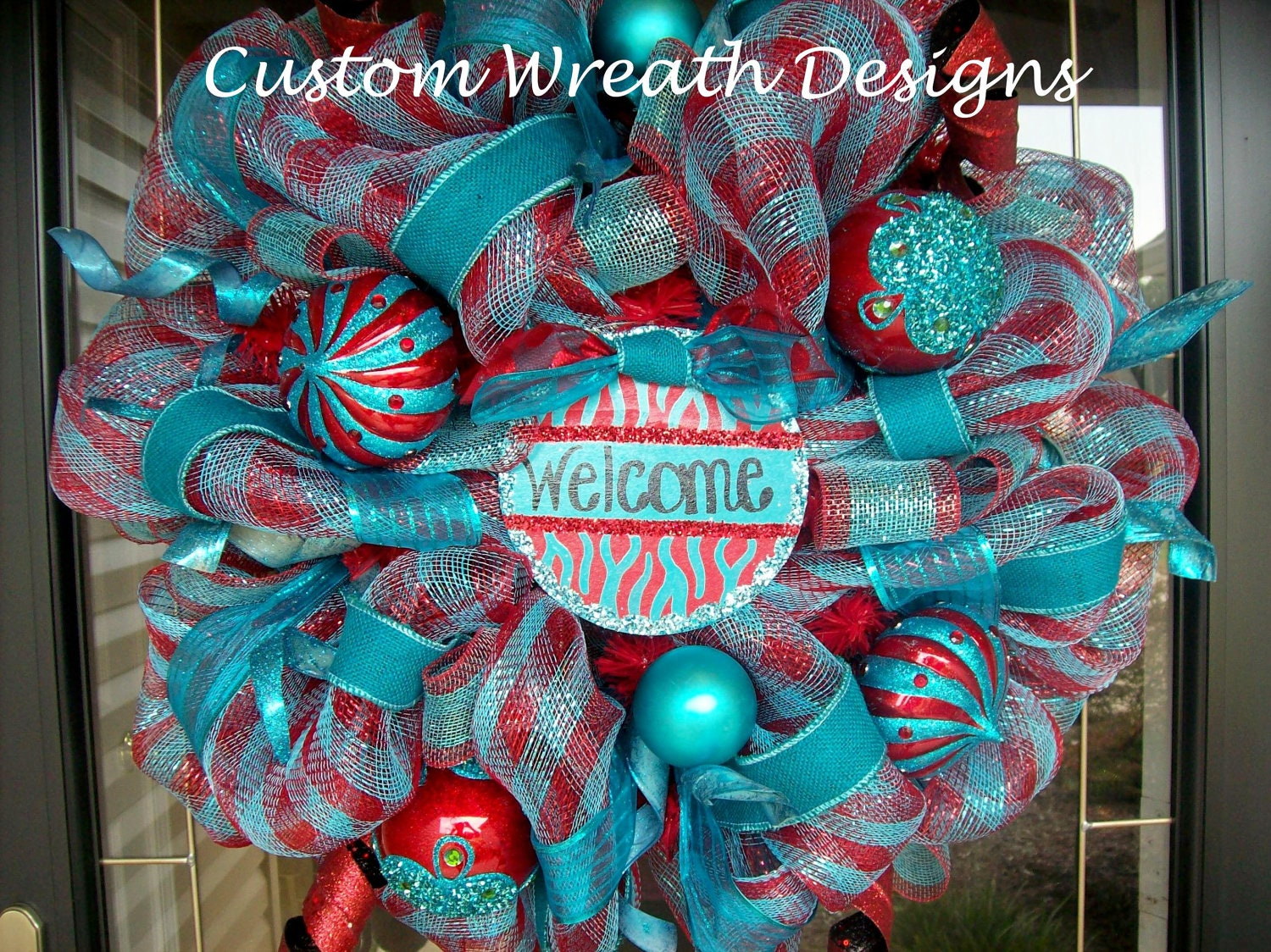 Red and Turquoise Glitzy Christmas Mesh Wreath