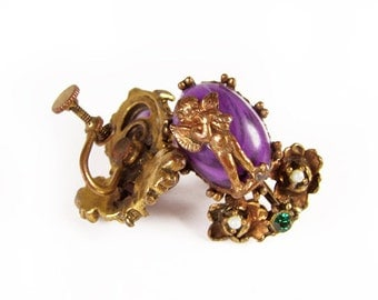 Vintage Angel Earrings in Purple and Copper Tone, Baroque Wedding - Boucles d'Oreilles.