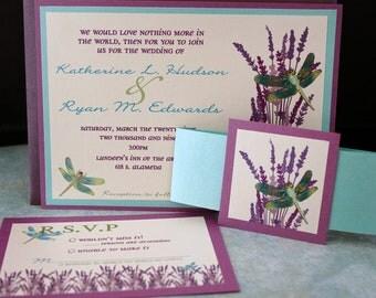 The Dragonfly & Lavender Wedding Invitation (((SAMPLE)))