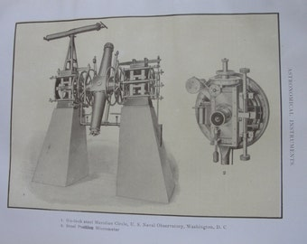 Astronomical Instruments - sepia print - 1911