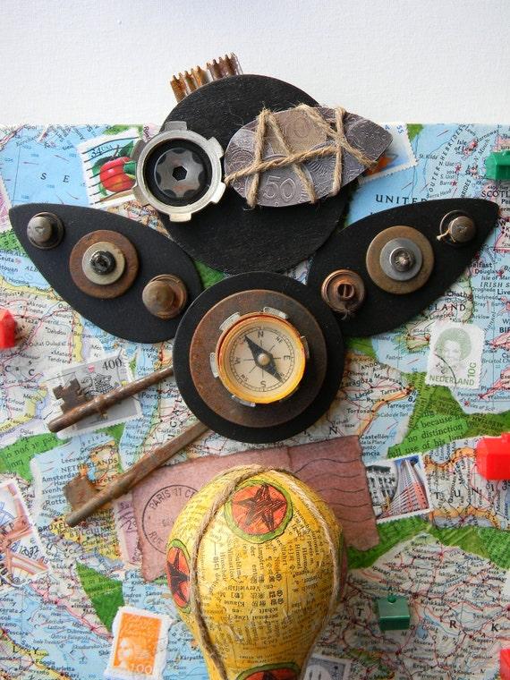 "Recycled Art Collage  -  ""World Traveler""   -  Original Mixed Media"
