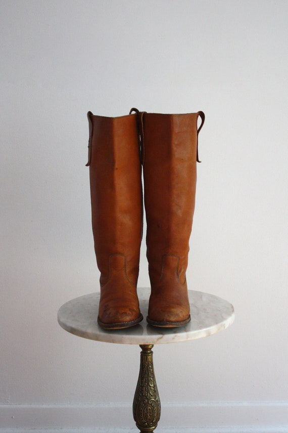 Leather Campus Boots - Brown High Heeled Light DINGO - Women's 7 7.5 - 1970s VINTAGE