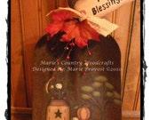Hand painted, painting epattern, pdf pattern, rusty shovel, fall, autumn, saltbox house, sheep, pumpkins