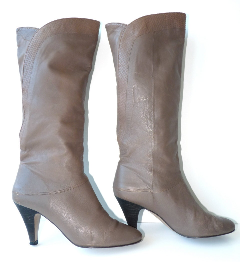 boots 6 taupe boots leather calf boots vintage