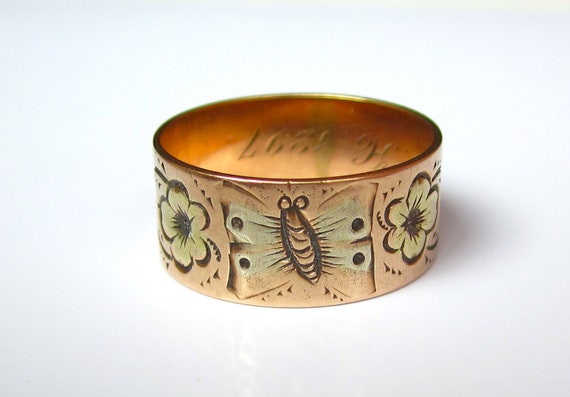 BEAUTIFUL Antique (1897) Victorian BUTTERFLY and Flowers Rose Gold Wedding Band