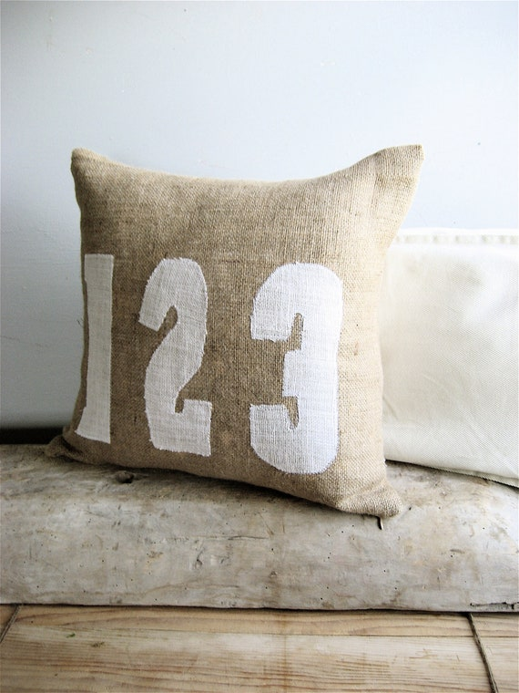Burlap Numbers Pillow Neutral Throw Pillow Accent