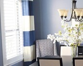 "84""L Grommeted Striped Drapery Panel - custom curtains - 28 color options"