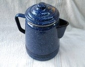 Coffee Pot Speckled Baked Enamel Blue Kitchen collectibles