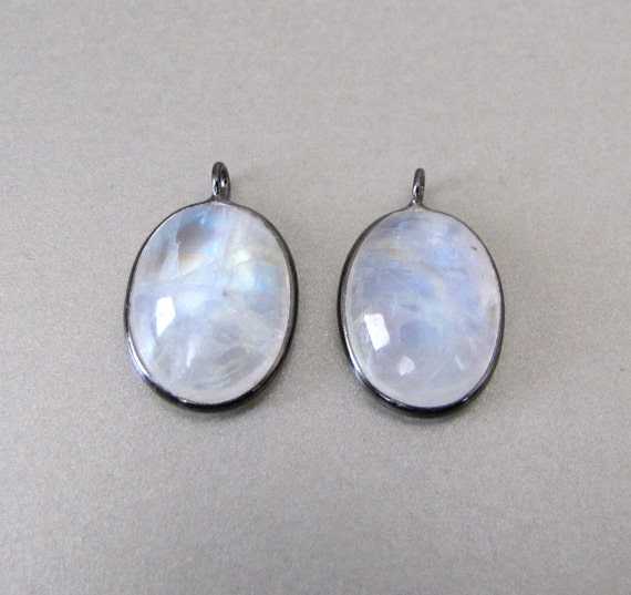 Silver Moonstone Pendants - Matching Pair
