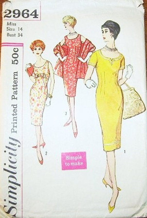 Women's Wiggle Sheath Dress with Low Round Neckline, Bow Trim, and Stole - Vintage 1950s Simplicity Easy Sewing Pattern 2964 - Bust 34