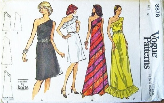 Women's One Shoulder Sleeveless Evening Cocktail Dress with Ruffle Trim - Vintage 1970s Vogue Sewing Pattern 8878 - Bust 34 - Factory Folds