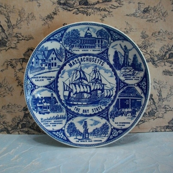 Massachusetts The Bay State Blue and White Vintage Souvenir Transferware Plate