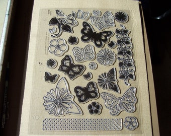 Rubber Stamp Sheet-Butterflies, flowers & leaves