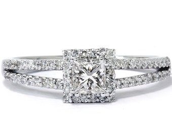 Princess Cut .60CT Diamond Engagement Split Shank Pave Halo Ring Band 14K White Gold Size 4-9