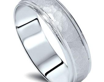 Hammered White Gold Mens 5 MM 10K White Gold Wedding Ring Band