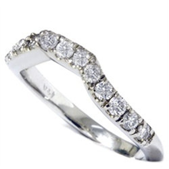 Diamond Curved Wedding Ring .40CT Anniversary Guard Band 14K White Gold Size (4-9)