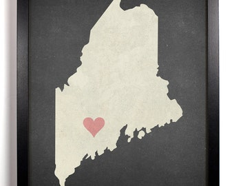 State Love Maine, Home, Kitchen, Nursery, Bath, Dorm, Office Decor, Wedding Gift, Housewarming Gift, Unique Holiday Gift, Wall Poster