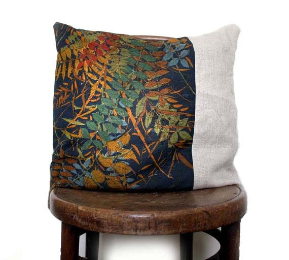Grasses Decorative Pillow Cover. Recycled Vintage Kimono Wool and Natural Linen. Eco. Washable.Choose a size..