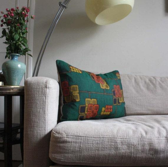 """Decorative Pillow Cover. Rare Vintage Kimono Silk and Natural Linen. 18x18"""" /45cm. LAST Two"""