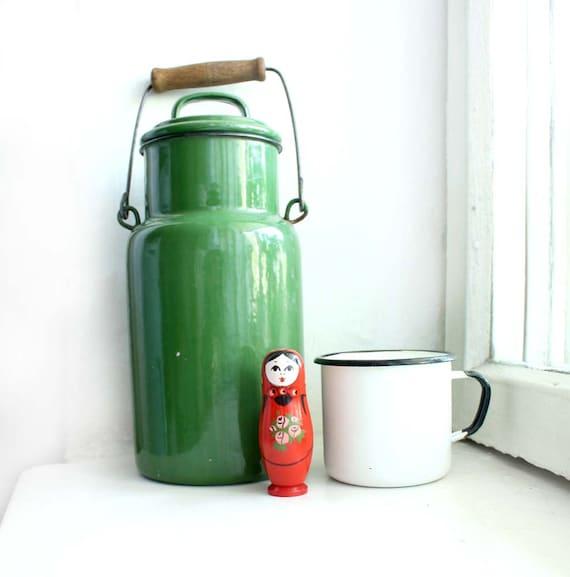 Vintage Enamelled Milk Can. Soviet Midcentury Green Milk Can. Enamelled Kitchenware