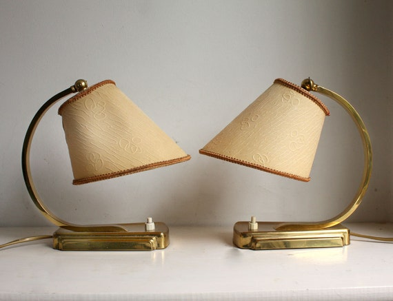 Vintage 1950s Lamps. Small Bedside French Style Lampshade, Shiny Metal Bases. eveteam