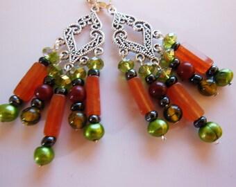 Orange Green on Silver chandelier earrings  E214