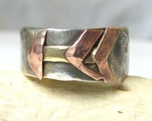 Arrow Ring- Sterling Silver Hammered Band Ring