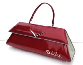 Couture Vintage Car inspired Handbag Made In USA-  '57 Bel Air Ruby Red / White Metal Flake