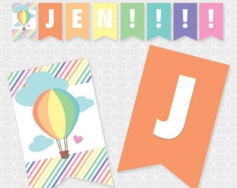 Air Balloon Party Banner, Printable file, Personalized