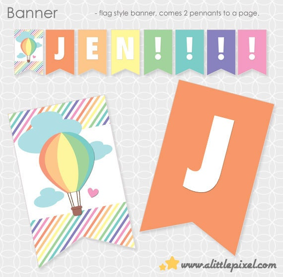 Up Up and Away Theme Banner - Personalized Printable - air balloon, sky, girl, clouds