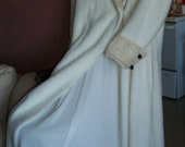 OOAK Vintage Maxi Coat Furry Off White Double Breasted S Upcycled With Vintage Lace - OneTwoThreeSisters