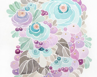 Flower Watercolor in turquoise, purple, and gray - Print