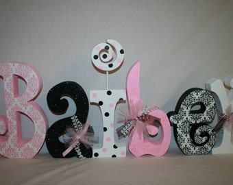 baby girl nursery decor 6 letter set pink and black decor damask room decor wooden letters hanging nursery letters baby name letters
