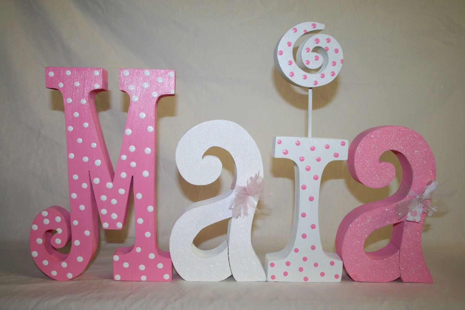 Baby shower decoration 4 wood letters by woodenwondersshop for Baby name decoration